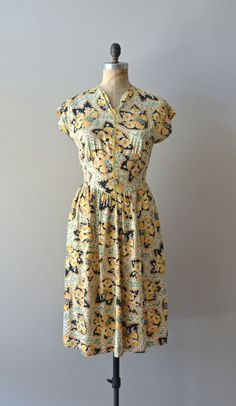 vintage 40s dress / cotton 1940s floral print dress by DearGolden, $88.00