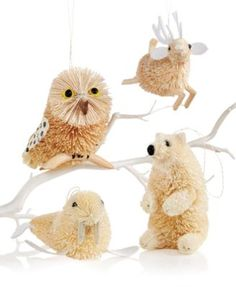 Martha Stewart Set of 4 Artic Buri Animal Ornaments | macys.com