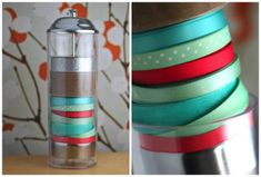 Turn a straw dispenser into a ribbon holder, like this blogger did.
