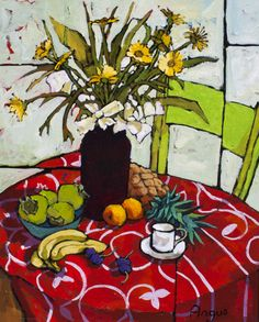 Angus Wilson - Flowers and Fruit on Red Patterned Table Cloth
