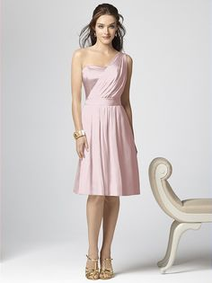 Blush, One-Shoulder Bridesmaid's dress