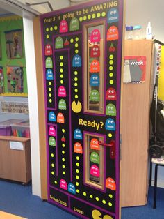 Pacman themed classroom door display for the new class New intake  Year 3 entry door  New class