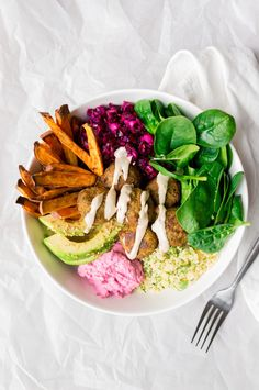 Falafel-couscous bowl