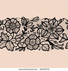 Abstract lace ribbon seamless pattern with elements flowers. Template frame design for card. Can be used for packaging, invitations, and template.