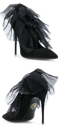Maison Ernest - Baudelaire pumps, Black Voile Trim Evening shoes. Halloween party, christmas party stiletto killer heels. Outfit Inspiration Idea. #fashion #fashionista #shoes #shoeaddict #party #outfits #affiliate #shopping #halloween #christmas #giftsforher