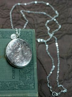 1976 Large Oval Sterling Silver Locket Necklace by TforEdgar