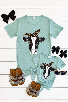 Mom & Me - Cow Tie Top - Mint/Cheetah Source by and me Mommy And Me Outfits, Girl Outfits, Cute Outfits, Matching Outfits, My Baby Girl, Baby Love, Baby Girl Fashion, Kids Fashion, Mom Dress