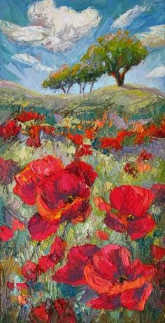 Artists Of Texas Contemporary Paintings and Art - New Poppy Field Painting by Contemporary Impressionist, Niki Gulley