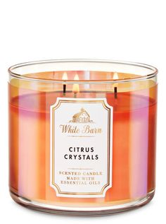 White Barn Citrus Crystals Candle - Bath And Body Works Bath Candles, 3 Wick Candles, Mason Jar Candles, White Candles, Scented Candles, Homemade Candles, Diy Candles, Bath Body Works, Best Home Fragrance