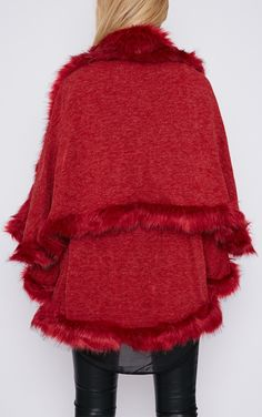 Mada Red Hooded Faux Fur Cape - Capes - PrettyLittleThing.com | PrettyLittleThing.com