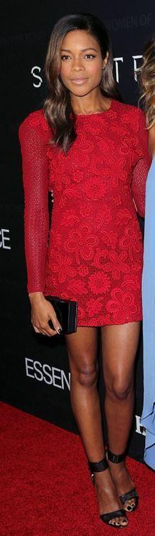 Naomi Harris: Dress – Burberry  Shoes – Casadei  Purse – Rauwolf  Jewelry – Graziela Gems