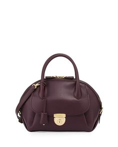 4da0bce2e23e Fiamma Domed Satchel Bag, Plum by Salvatore Ferragamo at Neiman Marcus.  $2250 White Peplum