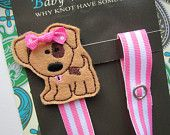 Puppy Dog Pacifier Clip, Girls Pacifier Clip, Animal Pacifier Clip, pcdog04