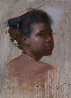 """Looking Back"" - Suchitra Bhosle, oil on canvas, 2011 {contemporary figurative… Drip Painting, Figure Painting, Painting & Drawing, Figurative Kunst, African American Art, People Art, Portrait Art, Portrait Paintings, Art Techniques"