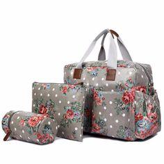 Miss Lulu Printed 4 Piece Baby Diaper Bag Set