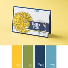 Stampin' Up! Color Combo: Crushed Curry, Old Olive, Night of Navy, Marina Mist Scrapbooking, Coordinating Colors, Card Sketches, Copics, Color Pallets, Ink Color, Flower Cards, Color Themes, Stampin Up Cards