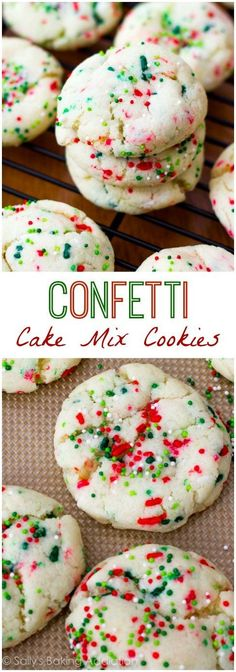 Recipe for confetti cake batter cookies using cake mix and sprinkles. The cookies soft, thick, and are so easy to make. Köstliche Desserts, Holiday Desserts, Holiday Baking, Holiday Treats, Mango Desserts, Christmas Treats For Gifts, Light Desserts, Holiday Foods, Christmas Cookie Exchange
