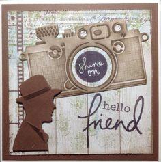 """Hello friend"" met fototoestel naar Singapore Marianne Design, Masculine Cards, Card Designs, Vintage Men, Reusable Tote Bags, Scrapbooking, Design Inspiration, Birthday, Fun"