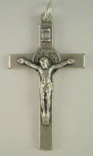 """St. Benedict Rosary Crucifix (Base Metal, 1 1/2"""")  https://www.rosaryparts.com/pages/store/10Expand.asp?ProductCode=7796BM"""