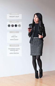 black tweed skirt black tights winter work wear skirt with tights