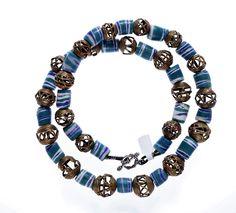 Krobo Powder Glass, Brass Ashanti Beads #1311 | Chains | Jewelry — Deco Art Africa - Decorative African Art