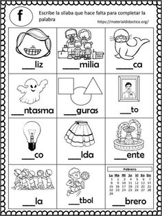 First Grade Phonics Summer Worksheets, Spanish Worksheets, Spanish Teaching Resources, Spanish Language Learning, Common Core Activities, Pre K Activities, Dual Language Classroom, Bilingual Classroom, Spanish Lessons For Kids