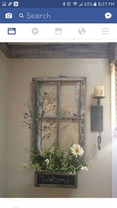 Old window frame Old Window Projects, Old Windows, Window Art, Home And Deco, Handmade Home, Fall Decor, Farmhouse Decor, Living Room Decor, Diy And Crafts