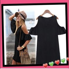 Cut out off shoulder Boho Mini Dress  Black tunic dress.. My Favorite!! Size up for a more comfortable fit.. Price Firm!! Dresses Mini