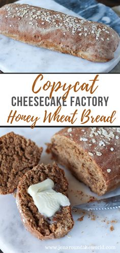 Copycat Cheesecake Factory Honey Wheat Bread - - If you love that delicious brown bread that they serve at Cheesecake Factory, you will love this copycat version. Nothing beats a slice of warm bread with homemade butter. The Cheesecake Factory, Honey Wheat Bread, Wheat Bread Recipe, Homemade Butter, Homemade Breads, Cooking Recipes, Cod Recipes, Lasagna Recipes, Chicken Recipes