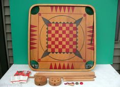 Vintage-CARROM-INDUSTRIES-95-Wood-Carrom-Board-w-Box-some-accessories