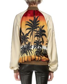 Price: $2,600. Saint Laurent - Palm-Tree Bomber Jacket, Red/Black/Yellow http://www.neimanmarcus.com/Saint-Laurent-Palm-Tree-Bomber-Jacket-Red-Black-Yellow/prod183790173/p.prod?ecid=NMCP_jackets_desktop