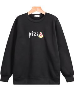 To find out about the Black Long Sleeve Pizz Embroidered Loose Sweatshirt at SHEIN, part of our latest Sweatshirts ready to shop online today! Trendy Outfits, Girl Outfits, Fashion Outfits, Sweat Shirt, Mein Style, Sweater Jacket, Diy Clothes, Teen Fashion, Sweaters