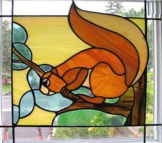 Squirrel, faux stained glass, from Faux Finis Stained Glass