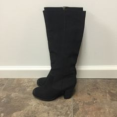 """NWOT! Mossimo Boots NWOT!! Black Mossimo Heeled Boots with Soft Faux Leather Feel with Inner Gold Zipper!! Still Tied Together in Perfect Condition!! 3-1/4"""" Heel 17"""" High 15"""" Circumference Mossimo Supply Co. Shoes Heeled Boots"""