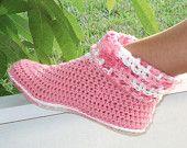 Crochet Pattern Slippers Cuffed Boots Women Kids PDF 12