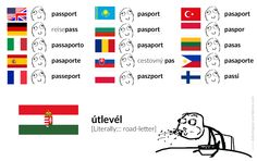 útlevél – passport [Literally::: road letter – A letter that says you have the permission to go on that road / to cross that particular border. Language Lessons, All News, Pusheen, Hungary, Best Funny Pictures, Grammar, Engineering, Knowledge, Politics
