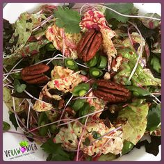 🌿🌞🍃Super Summer Sexy Salad🥗in the dead of a Cold Wintery Snowy Day💨❄️Salads just aren't for Summer! Soft Sweet Leaf Lettuce with Radish Micros🌱Avocado🥑Pecans🌰 Peas🎾 Kelp Chips🌊with a Beet🔴 OO & ACV Dressing! Winter Salad, Acv, Pecans, Beets, Lettuce, Sausage, Salads, Chips, Dressing