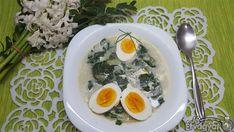 Spenótos krémleves tojással Soup, Eggs, Breakfast, Ethnic Recipes, Morning Coffee, Egg, Soups, Egg As Food