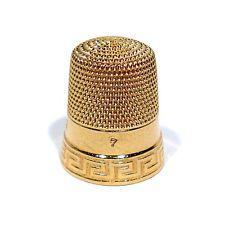 SIMON BROTHERS CO.SOLID 14K GOLD THIMBLE ~ GREEK KEY DESIGN ~ SIZE 7