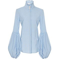 Caroline Constas Jaqueline Gingham Blouse ($395) ❤ liked on Polyvore featuring tops, blouses, blue, flared sleeve top, button up top, gingham top, caroline constas and bell sleeve blouse