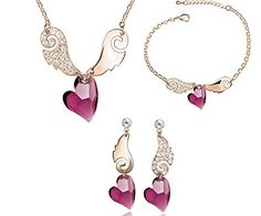 Purple Sweet Love God Heart Swarovski Elements Crystal Jewelry Women's Necklace ,Earrings and Bracelet Set Using the latest cutting technology smooth cutting crystal surface Earpins with 316 l medical stainless steel to prevent allergies 18 k gold electroplating, environmental protection is not easy to fade  Price:$33.99 & FREE Shipping