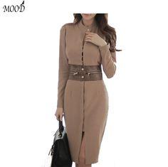 Aliexpress.com : Buy 2016 Autumn Winter Women Bodycon Sexy Slim Elegant Women Midi Dresses Sheath Leopard Sashes Knee Length O Neck Dresses Women from Reliable midi dress suppliers on MOOD THL