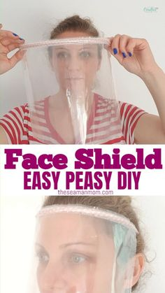 Make your own clear face shield with this DIY face shield tutorial in about 2 minutes! It uses just 3 simple supplies you most likely have on hand! Easy Face Masks, Diy Face Mask, Homemade Face Masks, Diy Masque, Simple Face, Simple Diy, Easy Diy, Pocket Pattern, Free Pattern