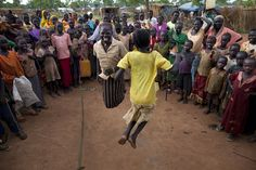 Sudanese girls jump rope as many look on at the Yida refugee camp along the border with North Sudan June 30, 2012 in Yida, South Sudan. Paula Bronstein / Getty Images