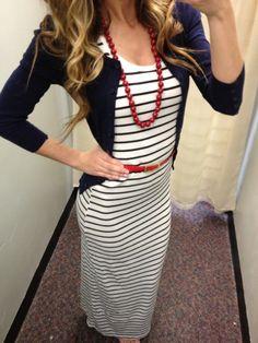 White and Black Striped Maxi Dress- I love this! www.SexyModest.com @Brigitte Shamy-SexyModest Boutique