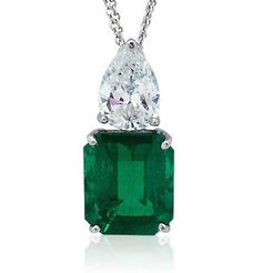 Emerald and Diamond Pendant. I want an emerald one day!
