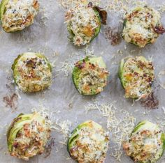 """Garlic and Herb Stuffed Brussels Sprouts (too non-healthy"""" with all the cheese? Use lower fat cheese?)"""