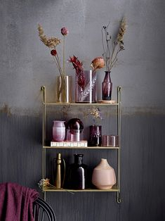 Bloomingville Tall Brass Metal Sculptural Vase with Large Handles - Trouva Metal Shelves, Wall Shelves, Shelving, Etagere Design, Ideas Para Organizar, Pillow Texture, Wall Installation, Wall Racks, Metal Wall Decor