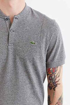 Lacoste LIVE Banded Collar Polo Shirt - Urban Outfitters Nike Polo Shirts, Golf Shirts, Polo Shirt Design, Polo Outfit, Matching Couple Shirts, Textiles, Collar Shirts, Shirt Jacket, Mens Tees