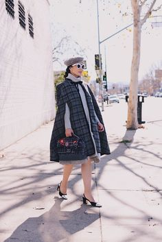 HallieDaily, Style, Street Style, Outfit, OOTD, J.Crew Tartan Cape, Sweater Dress, Wool Beret, Celine Sunglasses, Chanel Two Tone Slingback, Chanel Tweed Bag, Dior Pearl Earrings, Classic, Parisian Chic